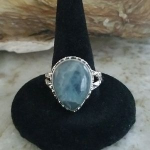 Aquamarine set in sterling silver ring